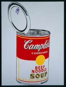 Andy Warhol. Big Campbell's Soup Can, 19¢ (Beef Noodle), 1962. Acrylic and graphite on canvas, The Menil Collection, Houston. © 2012 The Andy Warhol Foundation for the Visual Arts, Inc. / Artists Rights Society (ARS), New York