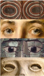 Details of four works in Connecting Cultures, from top: Korumbo Gable Painting, 20th century, unidentified Abelam artist; Girl in a Japanese Costume, circa 1890, William Merritt Chase; Mosaic Head Pendant, 700–800, unidentified Maya artist; and Life-Death Figure, circa 900–1250, unidentified Huastec artist.