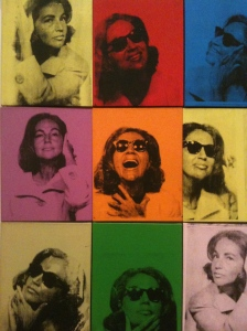 Fragment of Andy Warhol's silkscreen on canvas, Ethel Scull 36 Times. Jointly owned by the Whitney Museum of American Art and The Metropolitan Museum of Art; Gift of Ethel Redner Scull, 2001