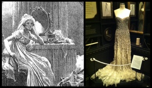Miss Havisham illustration by Charles Green (c. 1877) and installation view of the NYPL show