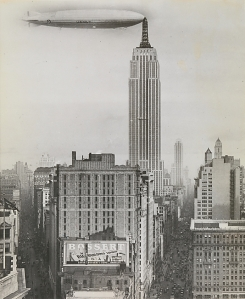 Dirigible Docked on Empire State Building, New York, 1930. This never happened. Source: The Metropolitan Museum of Art, Twentieth-Century Photography Fund Fund