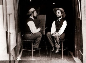 Maurice Guibert's Henri de Toulouse-Lautrec as Artist and Model (ca. 1890). Gelatin silver print. Source: Philadelphia Museum of Art: Gift of Henry P. Mcllhenny.