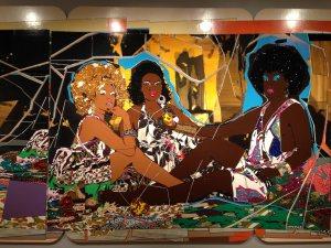 Installation view of Mickalene Thomas's Les Dejeuner sur l'herb Les Trois Femmes Noires, 2010.