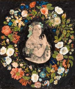 Artist unknown. Wreath of Flowers with Lithograph of Jenny Lind. Reverse painting and foil on glass with lithograph, c. 1850. Source: American Folk Art Museum, gift of Susan and Laurence Lerner.