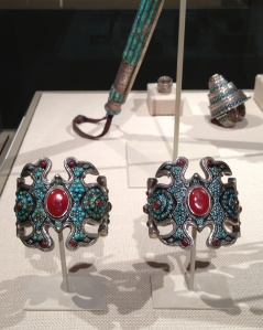 Installation view with matching silver armlets (bilezik), whip, and double-finger matchmaker's ring with turquoise and carnelians.
