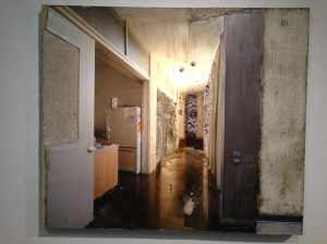 Installation view of Naomi Safran-Hon's Home Invasion (2011). Archival inkjet print, lace, and cement on canvas