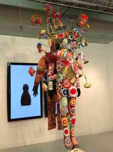 Nick Cave soundsuit (2012) and video featured at Jack Shaniman Gallery booth at the Armory Show's Contemporary pier