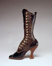 "Curvy, red-lined leather ""it"" boot of 1900 by Jack Jacobus Ltd. Austrian fashion, gift of the V&A."