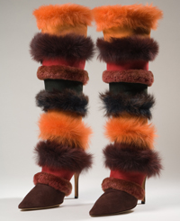 Fantasy-meets-luxury suede and shearling creation by Manolo Blanik (1997, UK). Gift of Ruffo.