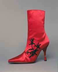 Second-skin Louboutin satin boots (1994-95 Fall collection)