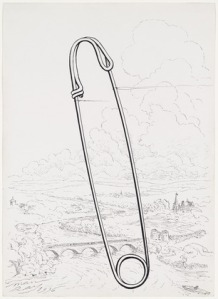 Man Ray's Safety Pin (1936). Ink and pencil on paper. Source: MoMA. © 2013 Man Ray Trust / Artists Rights Society (ARS)