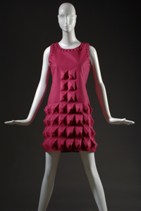 "Pierre Cardin, dress, fuchsia ""Cardine"" textile with molded 3D shapes, 1968, Gift of Lauren Bacall."
