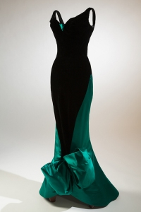Black velvet evening dress by Charles James (c. 1955) with a zipper inserted along that diagonal seam
