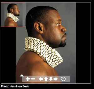 MAD's digital gallery navigation tool, featuring a photo of a model wearing Peter Hoogeboom's Spanish Collar (1995)