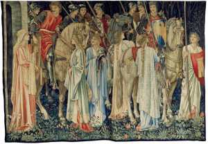 An avant-garde 1890s tapestry by Morris & Co., Edward Burne-Jones, William Morris, and John Henry Dearle (designers), The Arming and Departure of the Knights of the Round Table on the Quest for the Holy Grail. Collection of Jimmy Page, courtesy of Paul Reeves, London