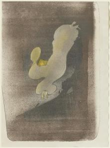 Toulouse-Lautrec, Miss Loïe Fuller (1893), Lithograph printed touched with gold and silver powder. Source: Clark Art Institute
