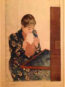 The Letter (1891) – color print with drypoint and aquatint. This is an earlier state (iii/iv) of Cassatt's famous print minus the wallpaper pattern and letter on the desk