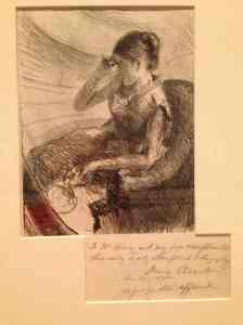 Woman Seated in a Loge (1881). The only lithograph Cassatt ever did, personally inscribed to Mr. Avery.