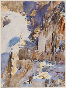 Carrara: A Quarry (1911). Translucent and opaque watercolor and wax resist with graphite underdrawing, Photo: © 2013 Museum of Fine Arts, Boston