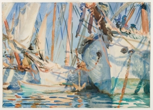 Sargent's masterful 1908 White Ships. Translucent and opaque watercolor and wax resist with graphite underdrawing, Source: Brooklyn Museum.
