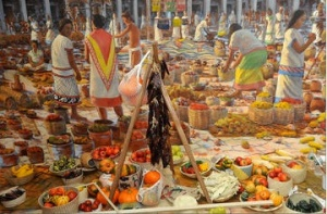 Diorama of the Aztec Tiatelolco market in 1519, just before the Conquistadors arrived. Photo: AMNH/R. Mickens