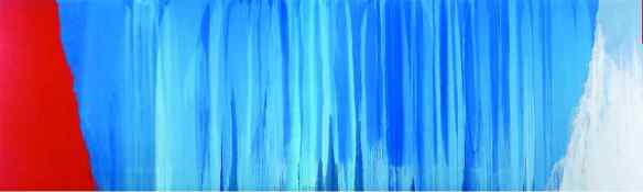 Steir's monumental Blue River (2005) – one of her celebrated Waterfall series. Steir's monumental Blue River (2005) – one of her celebrated Waterfall series. The video shows it's true scale.