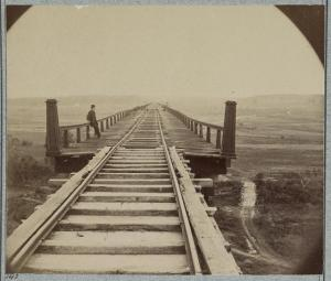 Half of Timothy O'Sullivan's stereo photo, Farmville, Va. April 1865, High Bridge of the South Side Railroad across the Appomattox. Source: Library of Congress