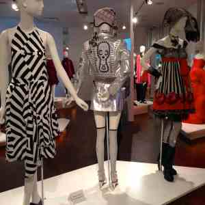 Striped dress by Wayne Lu and two by Anna Sui
