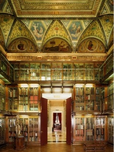 30-foot walls of Mr. Morgan's Library have three stories of inlaid Circassian walnut bookcases with treasures of world literature. Photo © 2006 Todd Eberle