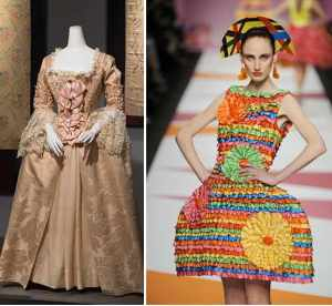 History repeats – a silk Robe d'anglaise from 1765 and a 2009 ribbon-and-wire creation by Agatha Ruiz de la Prada