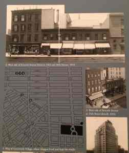 Whitney exhibition card showing map and 1914 photograph of the West Village storefronts depicted in the above oil painting