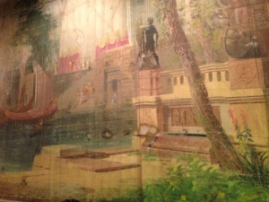 Detail of original drop curtain, done in distemper on 30-foot canvas