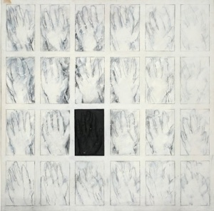 Zarrine-Asfar's 1970s Black Plaster Hand in oil and pencil on canvas with plaster. Source: Grey