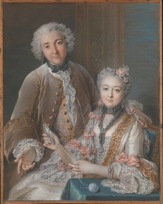 Coypel's large 1743 double portrait – quite a masterwork in pastel, chalk, and watercolor on four joined sheets of handmade blue paper, mounted on canvas.