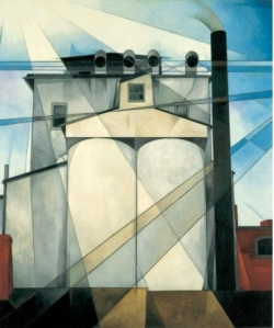 Charles Demuth's precisionist take on the grain elevators in his hometown, My Egypt, 1927.