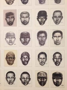 "Small detail of Ignazio Gonzalez-Lang's ""Guess Who"" – a grid of 100 inkjet prints of police sketches that appeared in NYC newspapers papers. In this 2012 work, he arranged very similar portraits side by side."