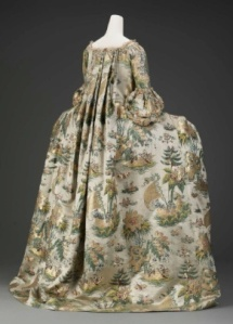 1730s Dutch brocaded satin, featuring exotic Asian islands and fauna, was refashioned into a more fashionable French frock in 1770. Source: Museum of Fine Arts, Boston. The Elizabeth Day McCormick Collection