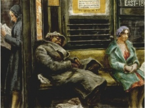 "Reginald Marsh asks commuters a question in Why Not Use the ""L""?, 1930"