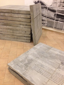Ramón Miranda Beltrán's historic documents cast in concrete, featuring President McKinley's treaties that gave Guam and the Philippines to the US after the Spanish-American War