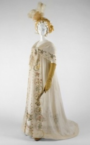 Embroidered muslin dress and fichu. The 18th c. craze for Neoclassical across Europe drove massive imports of lighter-than-air Bengali muslin. Source: The Met
