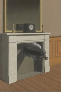 Magritte's 1938 oil, La durée poignardée (Time Transfixed) from The Art Institute of Chicago's Winterbotham Collection. © Charly Herscovici ADAGP–ARS, 2013