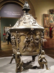 Hildesheim's large cast 1226 baptismal font installed in the great Medieval Hall