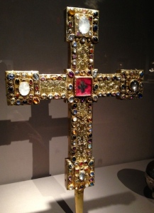 A processional cross, made between 1170 and 1190, which is said to hold relics of the True Cross
