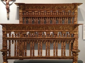 Peruvian bed of gilt wood (1700-1760) that would be shown off in a state bedroom.