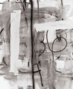 Wool's 2010 untitled enamel on linen uses erasures, spray, and wipeouts. © Christopher Wool