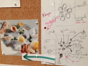Close-up of large working board of photo and diagrams document the plating and components of each dish. Courtesy: elBullifoundation