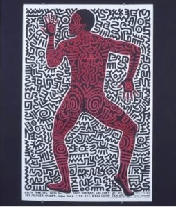 "Keith's ""Into 84"" exhibition poster inspired by choeographer Bill T. Jones (1983). Photo: Tseng Kwong Chi. © Muna Tseng Dance Projects, Inc.; Keith Haring artwork © Keith Haring Foundation"