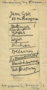 Kuhn kept Picasso's 1912 list of which artists should be shown. Source: Smithsonian Archives of American Art, Kuhn family papers.
