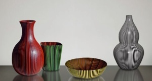 Scarpa's striped Rigati e tessuti glass pieces (1938–1940). Sources: private collection; Carraro Collection (Venice); European Collection