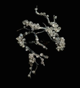 JAR's 2010 bracelet evokes snow on branches. Diamonds, silver, and platinum.